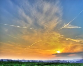 Обои Конденсационный след: Облака, Небо, Природа