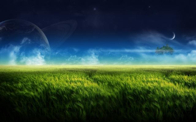 Планета на фоне зелёного луга