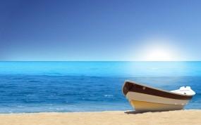 Обои Лодка на лазурном берегу: Пляж, Вода, Песок, Лодка, Природа
