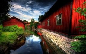 Обои Деревенски пейзаж: Река, Природа, Красный, Дома, Природа