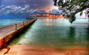 Обои Причал у Каймановых островов: Пляж, Причал, Тропики, Природа