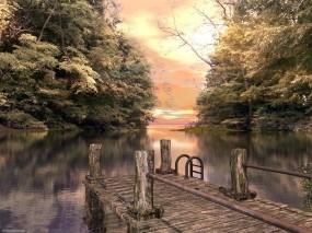 Обои Осенняя пристань: Вода, Осень, Пристань, Природа