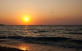 Обои Закат на море: Море, Солнце, Закат, Вода и небо