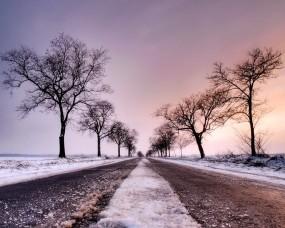 Обои Зимняя дорога: Зима, Снег, Дорога, Деревья, Зима