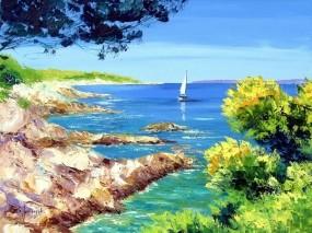 Обои Картина Jean-Marc Janiaczyk: Море, Картина, Корабль, Природа