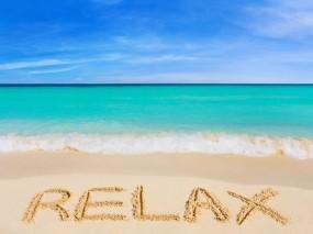 Обои Расслабься: Пляж, Океан, Надпись, Природа