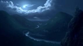 Обои Лунная ночь: Река, Ночь, Луна, Природа