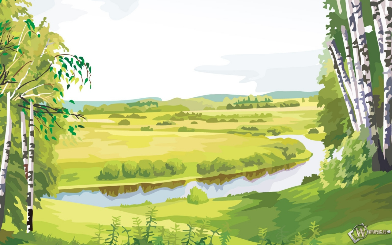 Река и лес рисунок