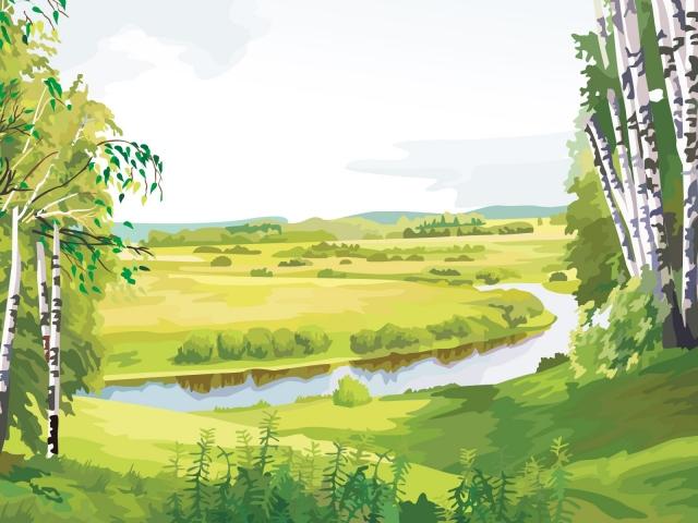 Река в берёзовой роще
