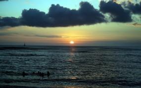 Обои Закат на море: Море, Закат, Небо, Горизонт, Вода и небо