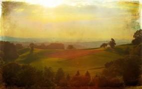 Обои Красивый пейзаж: Солнце, Поле, Картина, Небо, Природа