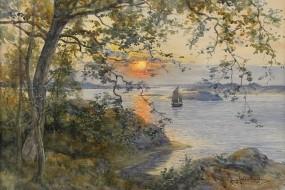 Обои Арт Анна Гарделл-Эриксон: Деревья, Закат, Пейзаж, Природа