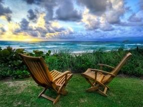 Обои Место для отдыха: Море, Восход, Небо, Отдых, Стулья, Природа