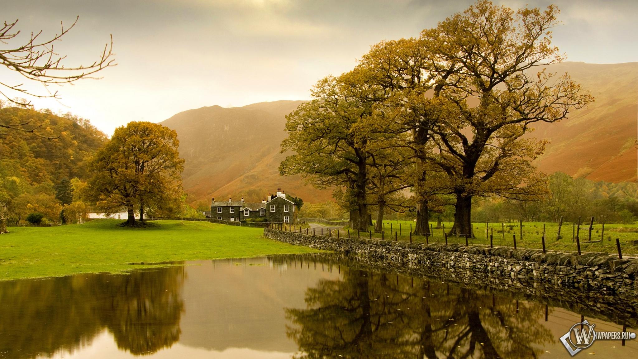 Природа озеро англия 2048x1152 картинки