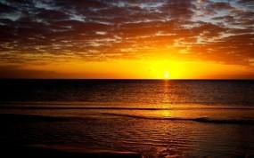 Обои Закат на море: Море, Солнце, Закат, Природа