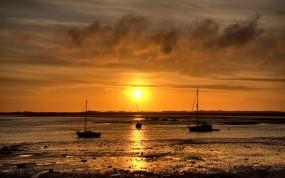Обои Закат в Шотландии: Море, Яхта, Закат, Небо, Шотландия, Природа