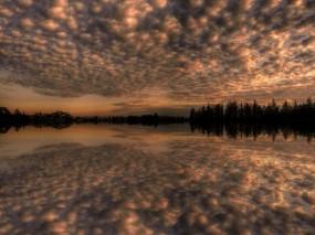 Обои Отражение: Облака, Отражение, Деревья, Озеро, Небо, Природа