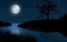 Обои Лунная ночь: Ночь, Луна, Звёзды, Рисунок, Природа