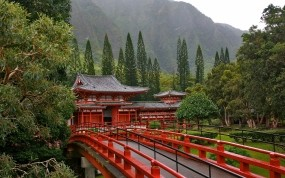 Обои Акаси-Кайкё висячий мост в Японии: Деревья, Мост, Япония, Природа