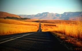 Обои Американская дорога: Путь, Дорога, Трава, Природа
