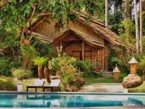 Обои Домик в лесу: Вода, Деревья, Бассейн, Дом, Природа