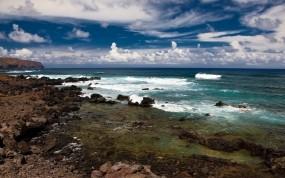 Обои Летнее море: Облака, Волны, Море, Берег, Небо, Лето, Вода и небо