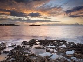 Обои Берег моря: Облака, Озеро, Берег, Вода и небо