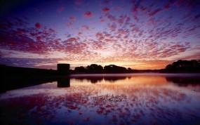 Обои Отражение: Облака, Отражение, Закат, Небо, Природа