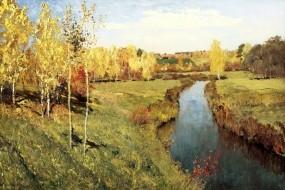 Обои Левитан Золотая осень: Осень, Холст, Живопись, Левитан, Природа