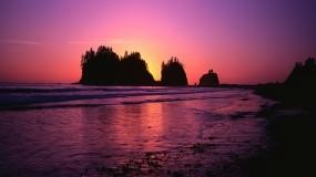 Обои Панорама заката: Море, Закат, Скалы, Берег, Небо, Прочие пейзажи