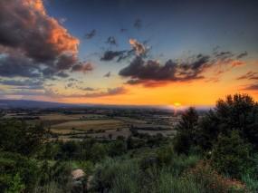 Обои Закат: Облака, Деревья, Поля, Закат, Природа