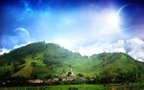 Обои Безмятежность: Холмы, Небо, Дома, Природа