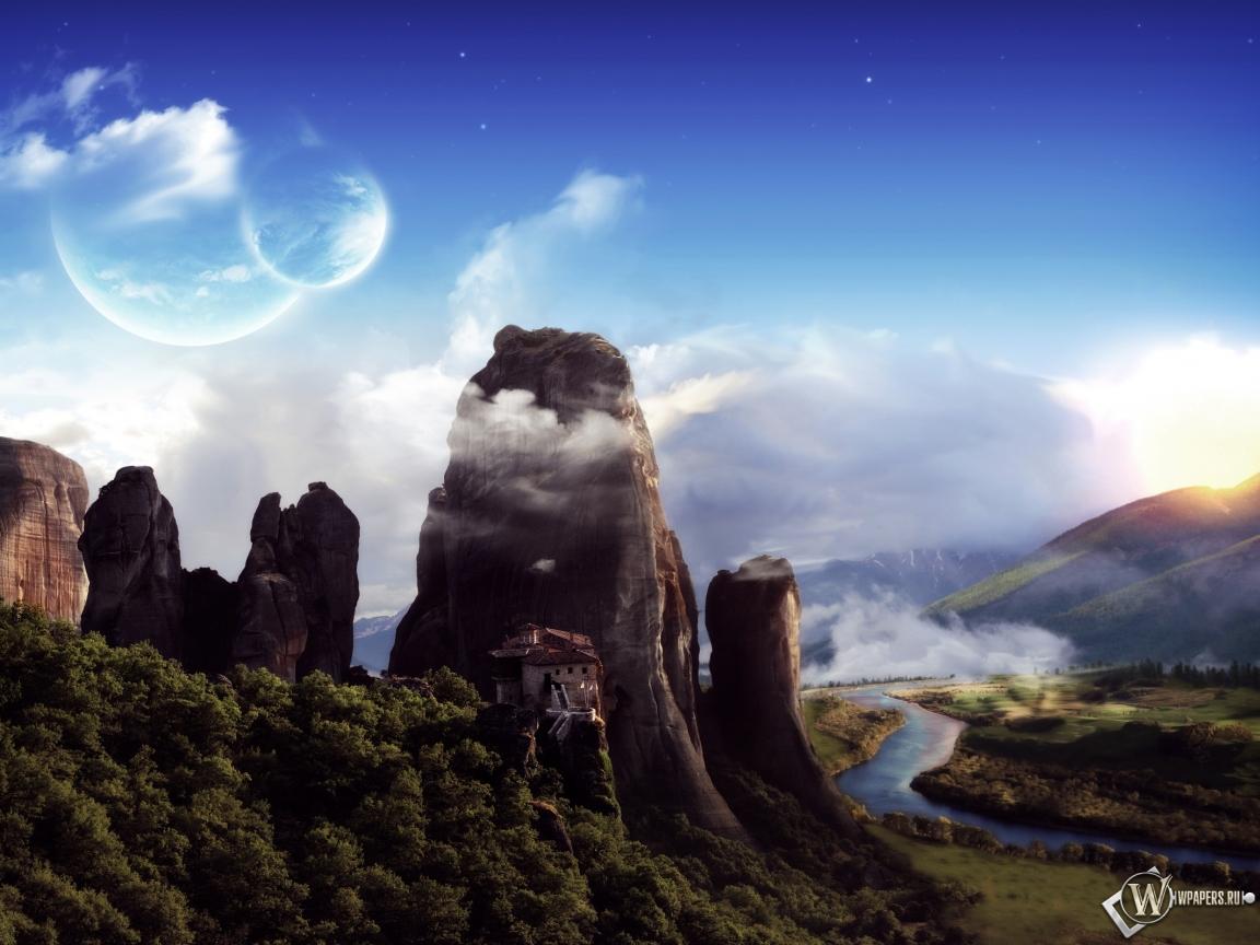 Обои фантастический пейзаж горы
