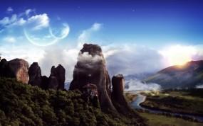 Обои Фантастический пейзаж: Горы, Планеты, Фантастика, Пейзаж, Природа