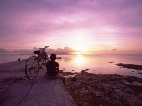 Обои Девушка с велосипедом: Море, Девушка, Закат, Небо, Велосипед, Природа