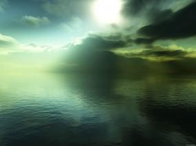 Обои Зелёное марево: Вода, Туман, Небо, Природа