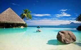 Обои Французская Полинезия: Пляж, Море, Солнце, Небо, Природа