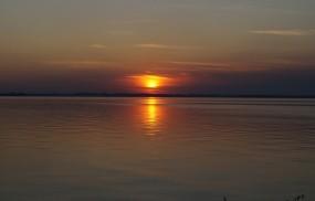 Обои Обское озеро: Закат, Озеро, Вода и небо