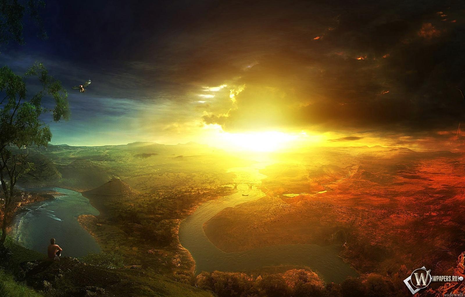обои Солнечный свет в горах (Горы, Свет ...: wpapers.ru/wallpapers/nature/5339/1600-1024_Солнечный...
