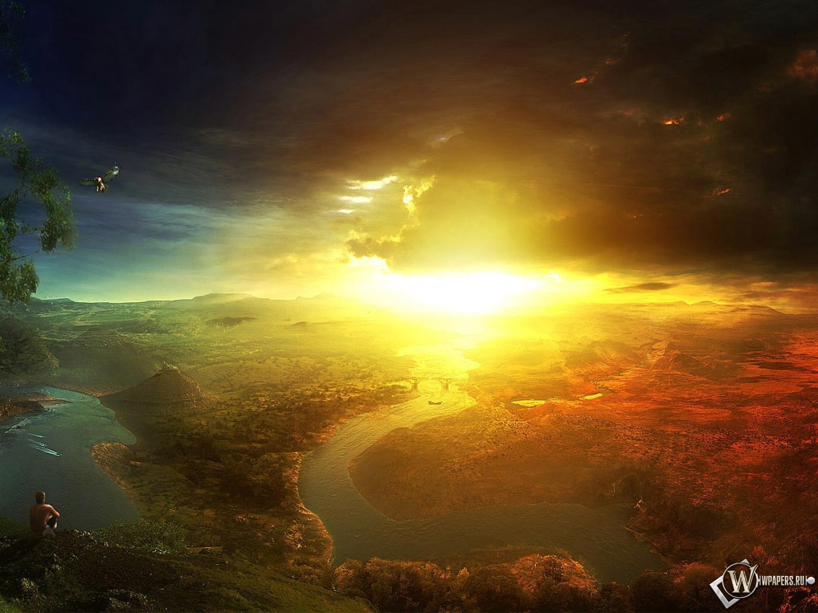 Обои солнечный свет в горах на рабочий