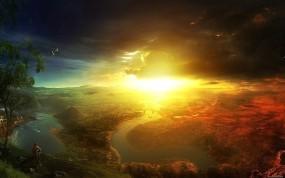Обои Солнечный свет в горах: Горы, Свет, Солнце, Небо, Туча, Залив, Природа