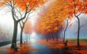 Обои Осенний парк: Природа, Осень, Картина, Рисунок, Парк, Осень