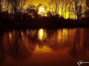 Обои Теплые лучи солнца: Водоём, Лучи солнца, Пруд, Берег, Осень