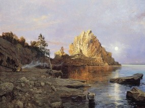 Обои Нарисованный Байкал: Горы, Озеро, Картина, Байкал, Байкал