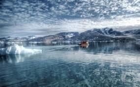 Обои Ханты-Мансийск: Вода, Лёд, Лодка, Прочие пейзажи