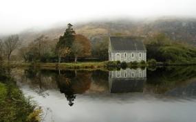 Обои Ирландия: Река, Дом, Спокойствие, Ирландия, Природа