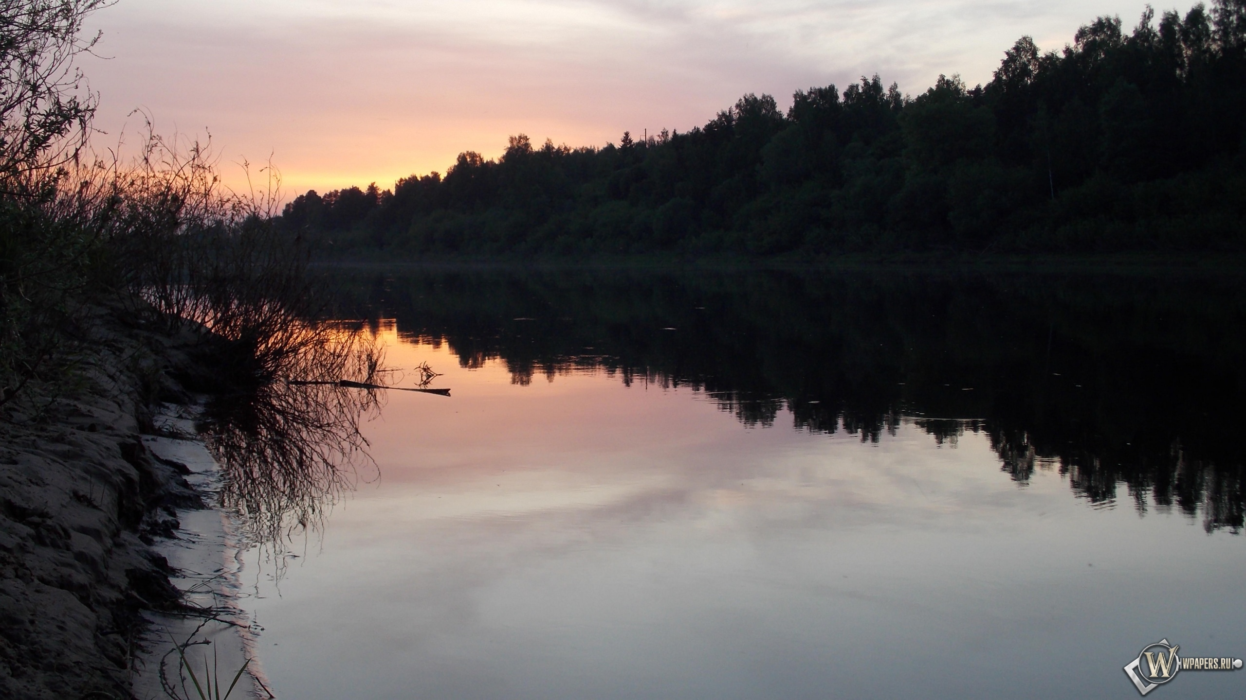 река после заката солнца 2560x1440