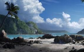 Обои Марио Касас: Облака, Горы, Море, Камни, Пальма, Прочие пейзажи