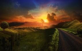 Обои Дорога через холмы: Облака, Дорога, Холмы, Трава, Прочие пейзажи