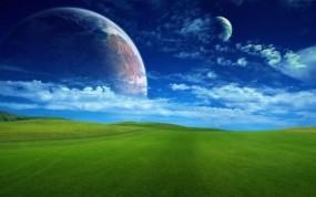 Обои Бескрайнее зеленое поле: Поле, Планета, Трава, Прочие пейзажи